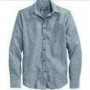 NWT Blue Linen Button Down Long Sleeve Shirt